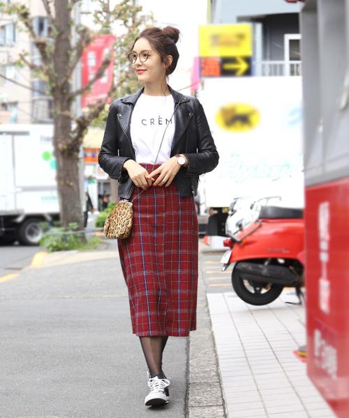 [coca] タータンチェック柄Iラインスカート