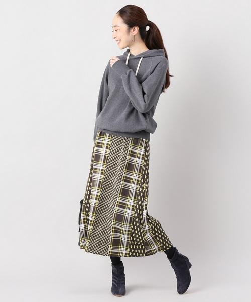 [La TOTALITE] マルチパネルプリントロングスカート【手洗い可能】◆