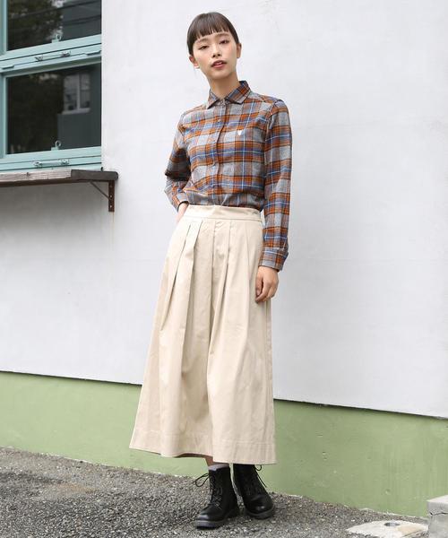[coen] コットンネルチェックワイドカラーシャツ
