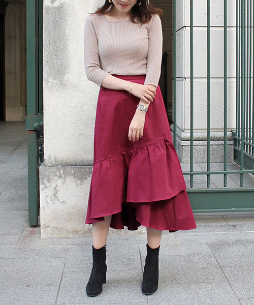 ギャザーヘムラインスカート