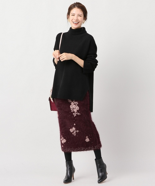 [IENA] アンゴラ混ビーズ刺繍スカート◆