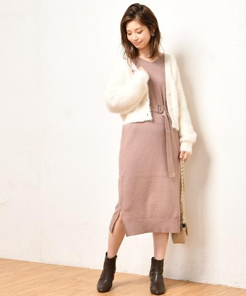[natural couture] バルーン袖ベルト付きニットワンピース