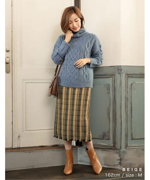 裾フリンジチェック柄タイトスカート