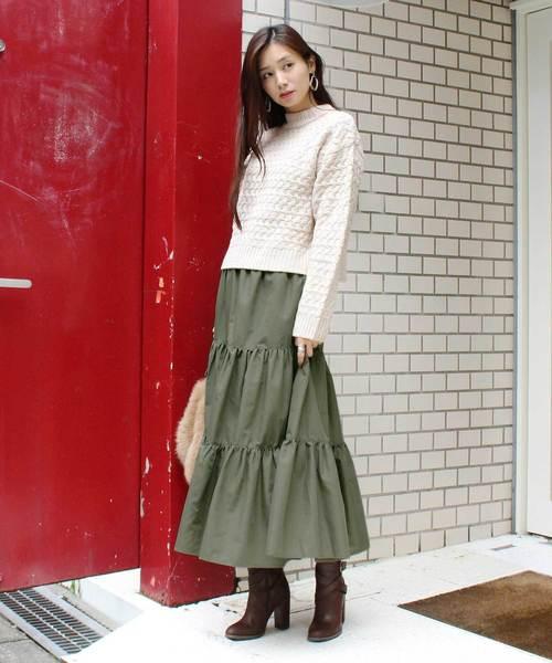 [MODE ROBE] ティアードスカート ロングスカート マキシスカート フレアスカート ボリューム