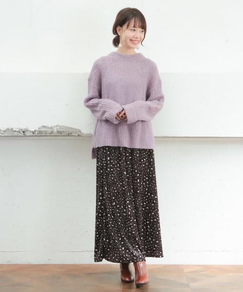 [SESTO] ベロアレオパードパターンマキシスカート