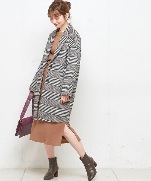 [natural couture] ウールチェック柄ロングチェスター