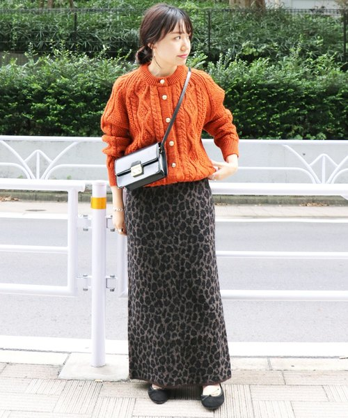 [IENA] レオパードニットジャガードタイトスカート◆