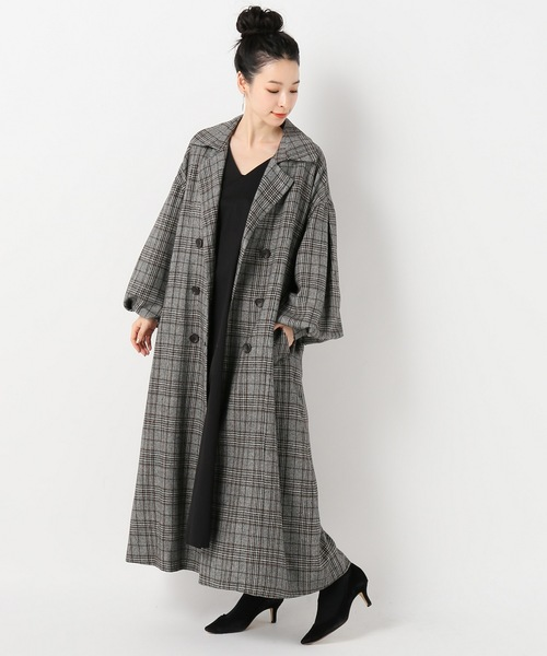 チェックボリューム袖ロングコート