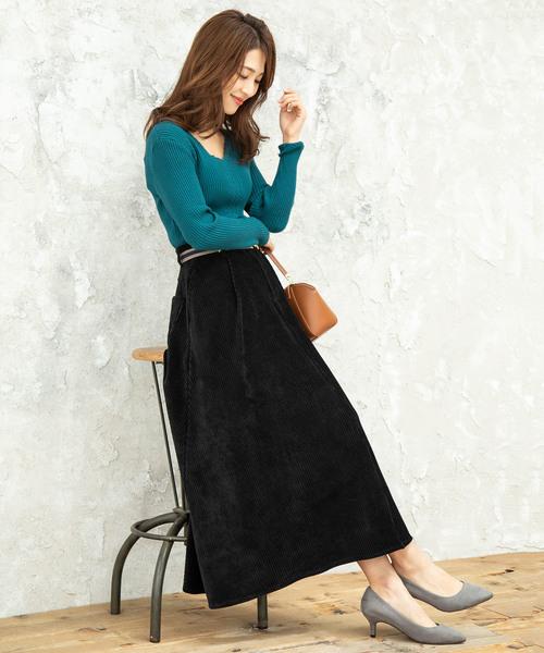 [ViS] 【WEB限定】カットソーコーデュロイフレアスカート