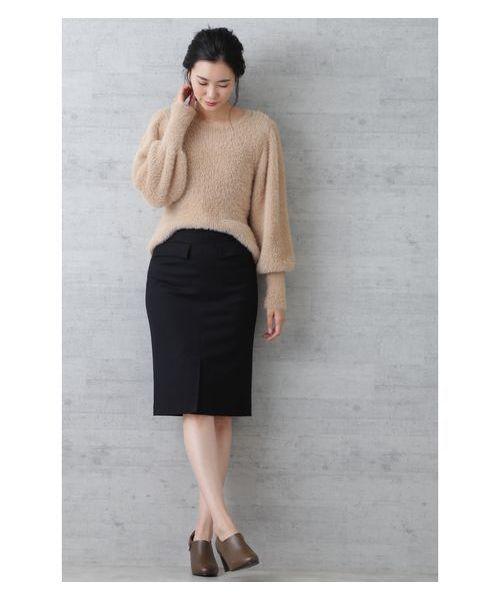 [NATURAL BEAUTY BASIC] 【雑誌掲載】ウールフラノストレッチタイトスカート