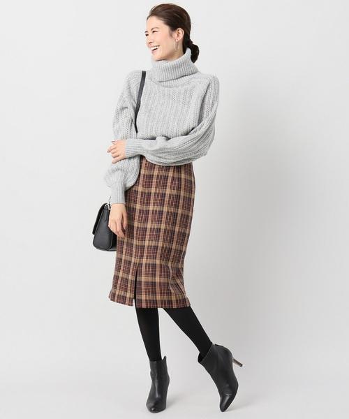 [La TOTALITE] バレンシアチェックジップタイトスカート◆