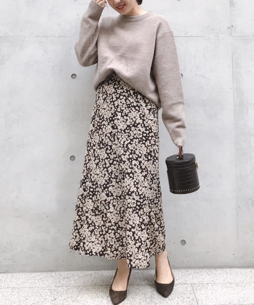 単色花デシンスカート