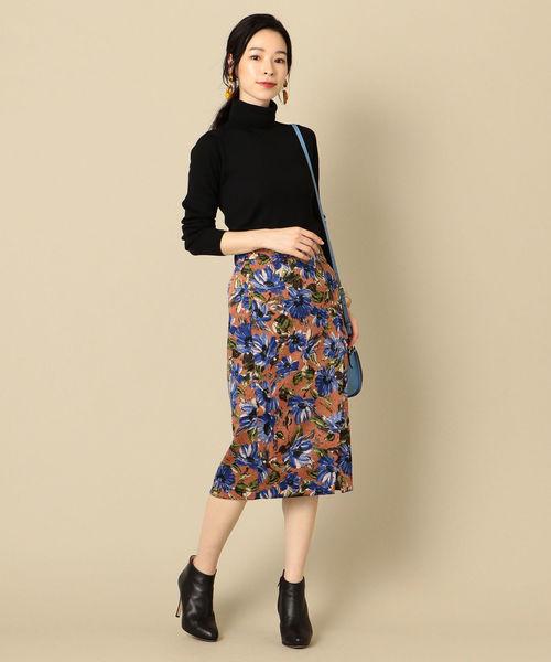 [SHIPS for women] フラワープリントタイトスカート