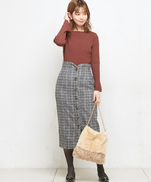 [natural couture] 起毛ツイードハイウエストタイトスカート