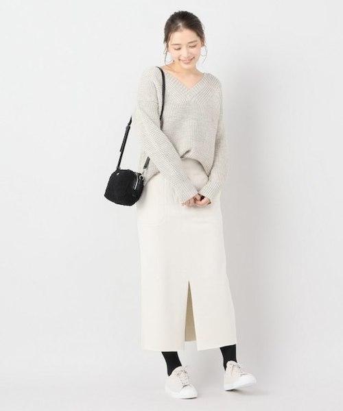 [IENA] C/W 裏毛ウエストリブタイトスカート◆