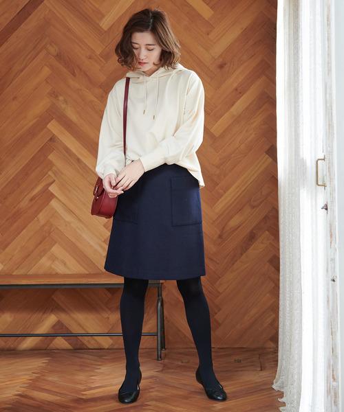 プレミアムウールメルトン台形スカート