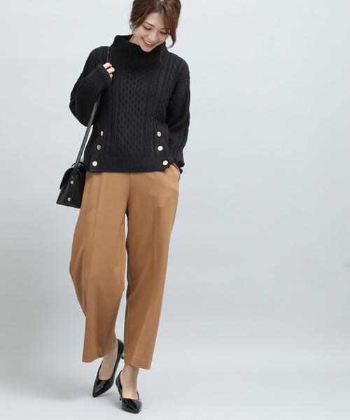 [ViS] 裾メタル釦開きケーブル柄プルオーバー