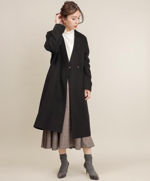 ウールビーバー ノーカラー ロングコート Fabric by Italy