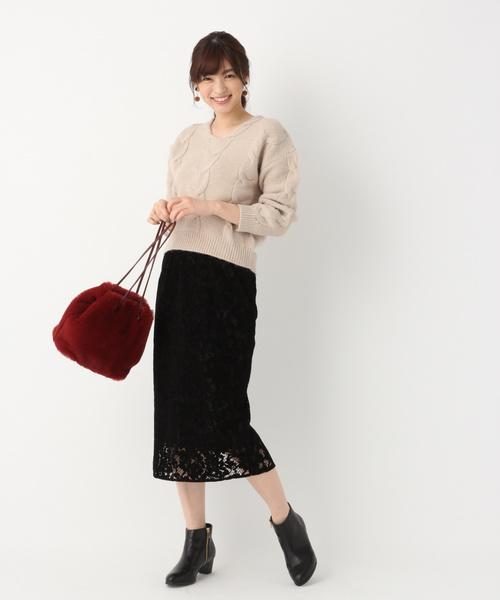[GLOBAL WORK] 【CLASSY.12月号掲載】フロッキーレースタイトスカート/814903