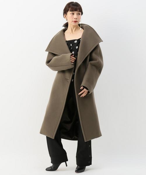 ロングスタンドカラーコート