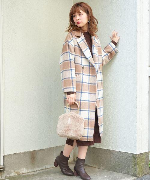 [natural couture] シャギーチェックゆるチェスターコート