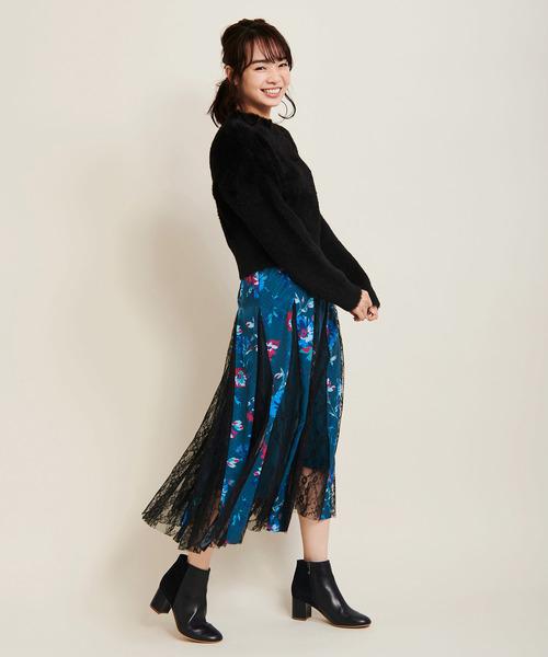 花柄レース切替スカート