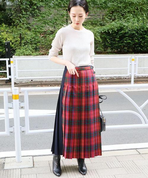 [IENA] 配色チェックプリーツスカート◆