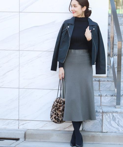 [coca] ミモレ丈しっとりフレアニットスカート
