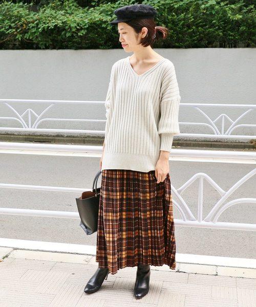 【IENA】チェックプリーツスカート