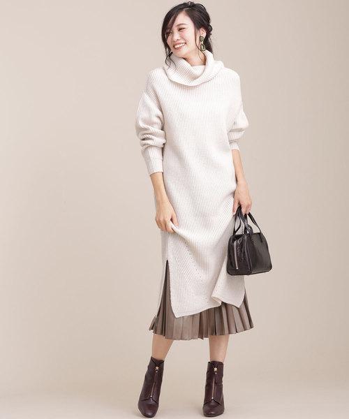 ワッフル編み袖ケーブルニットワンピース