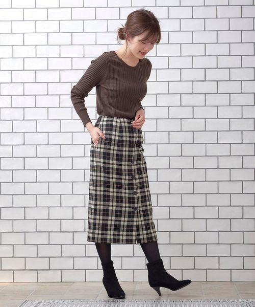 [le.coeur blanc] ウールチェックミディータイトスカート