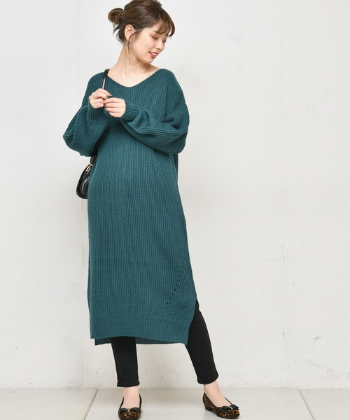 [natural couture] 畦編み後ろファスナーニットワンピース