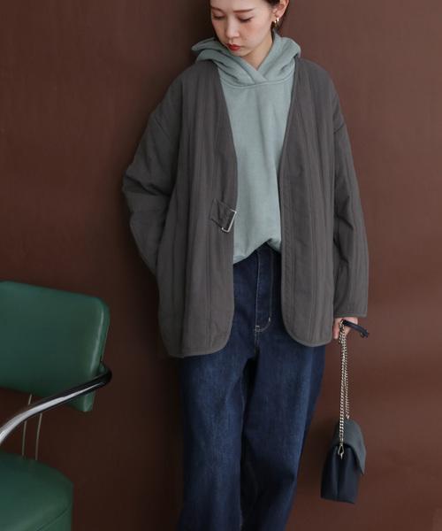 [KBF] サイドベルトキルティングジャケット