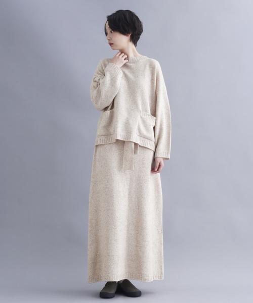 [merlot] ウール混ネップニットウエストリボンロングスカート1985