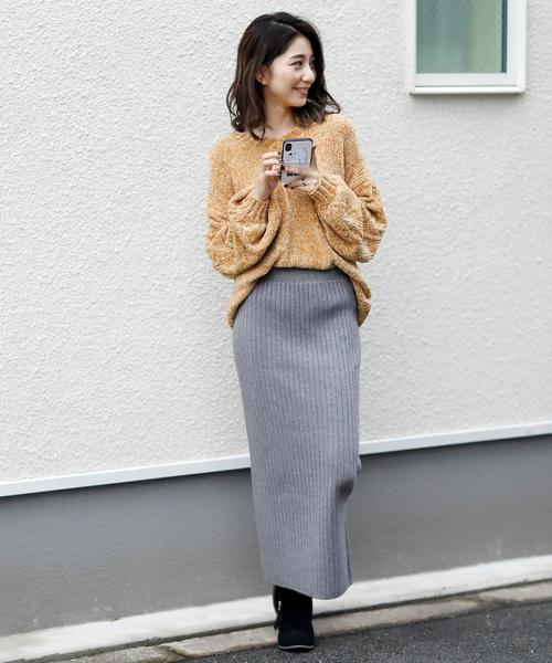 [Doula Doula] ハイウエスト スリットリブニットスカート(選べる丈2TYPE)
