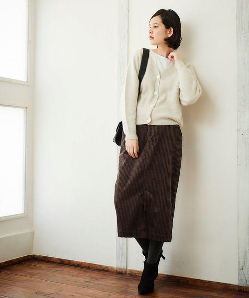 [le.coeur blanc] ワイドコーデュロイロングタイトスカート