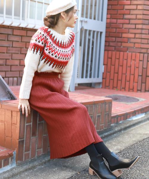 [coca] マルチリブニットタイトスカート