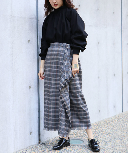 [HER CLOSET] 【&g'aime】チェックフリンジラップスカート