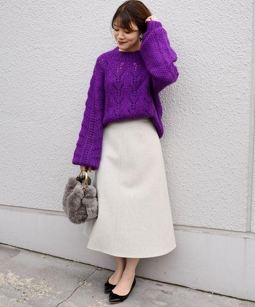 [SHIPS for women] ウールフレアースカート◇