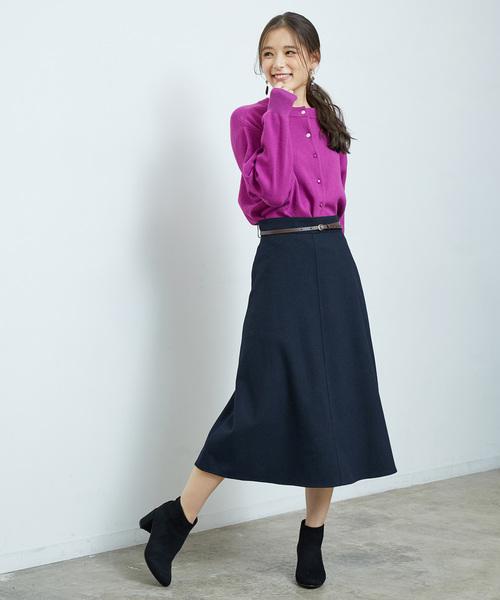 [ROPE' PICNIC] ベルト付きロングスカート