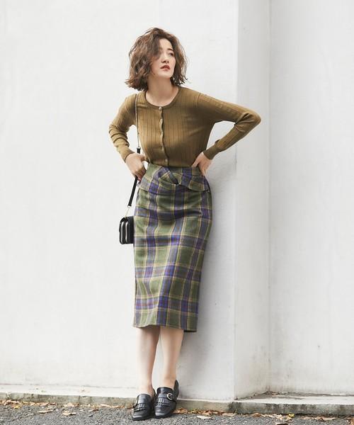 [tocco closet] チェックツイストタイトスカート