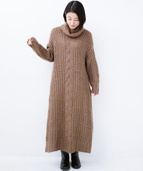 [haco!] パッと着て女っぽくなれる気がする ふんわり素材のケーブルニットワンピース