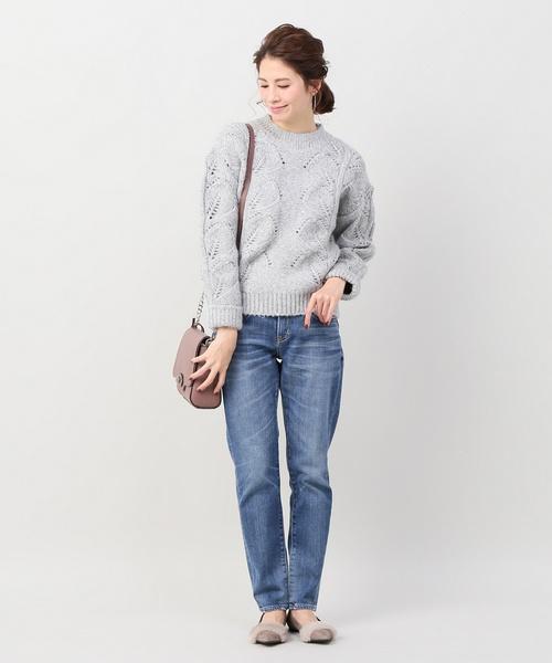 編み柄プルオーバー