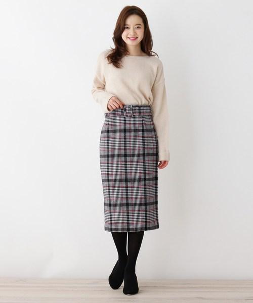 [OPAQUE.CLIP] 【mi-mollet掲載】【42(LL)WEB限定サイズ】ウォームチェックベルテッドスカート