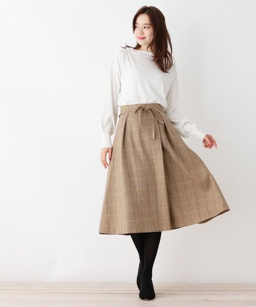 [OPAQUE.CLIP] 【42(LL)WEB限定サイズ・洗える】ウォームチェックベルトフレアスカート