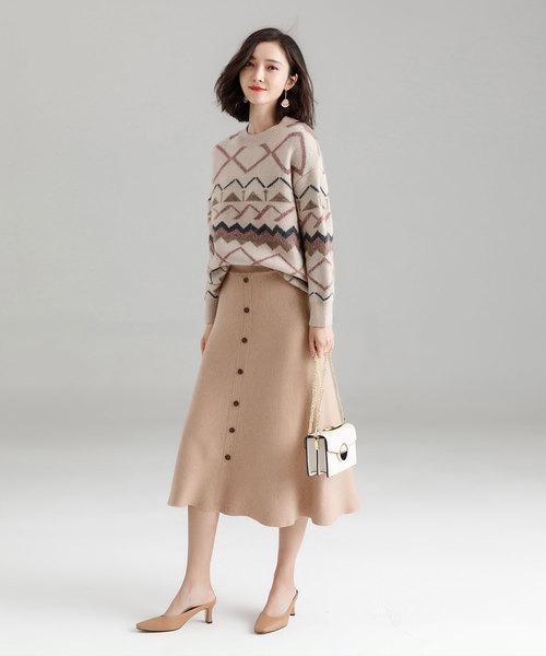 [SAISON DE PAPILLON] フロントボタンフレアニットスカート
