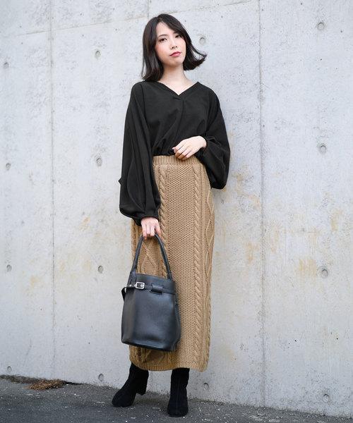 [ANDJ] ケーブル編みミモレ丈スリットニットスカート