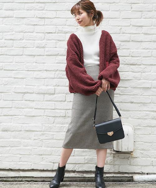 [natural couture] カラフル千鳥ゆるタイトスカート