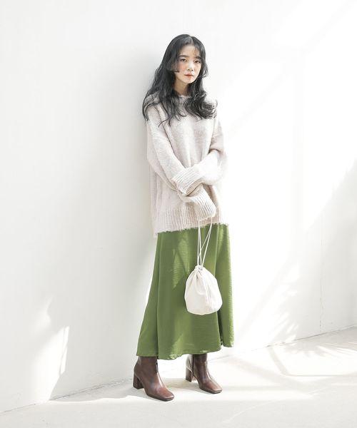 [UNE MANSION] 【Original】サテンロングフレアスカート