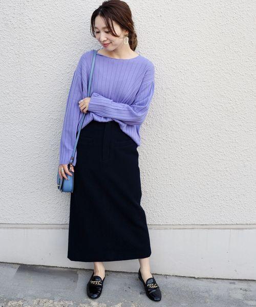 [SHIPS for women] ワイドリブプルオーバーニット◆